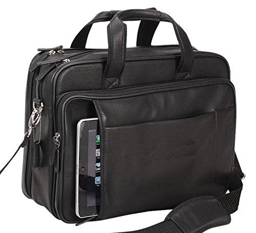 - Bellino Leather Laptop Briefcase Black