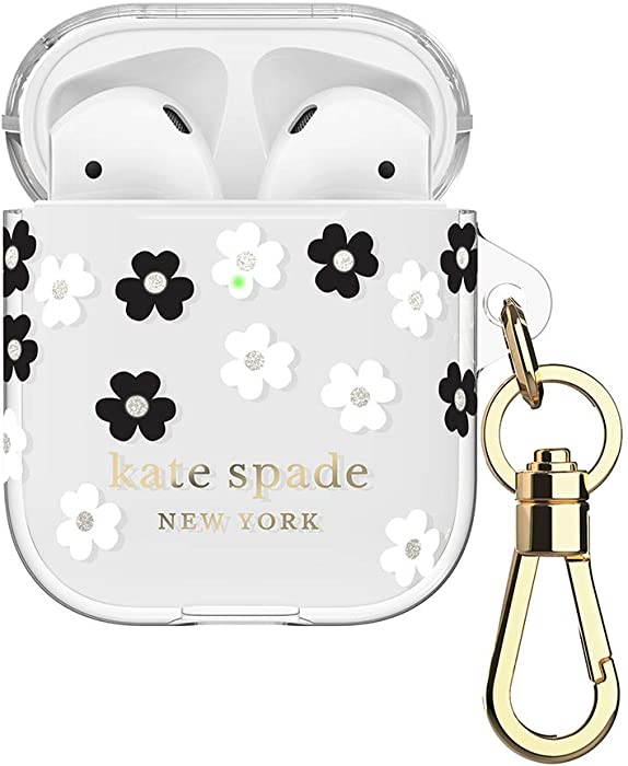 kate spade new york Protective Case for AirPods 2 & 1 with Keychain - Scattered Flowers - Supports Wireless Charging (Front LED Visible) - Two-Piece Translucent Cover with White/Black Flower Design