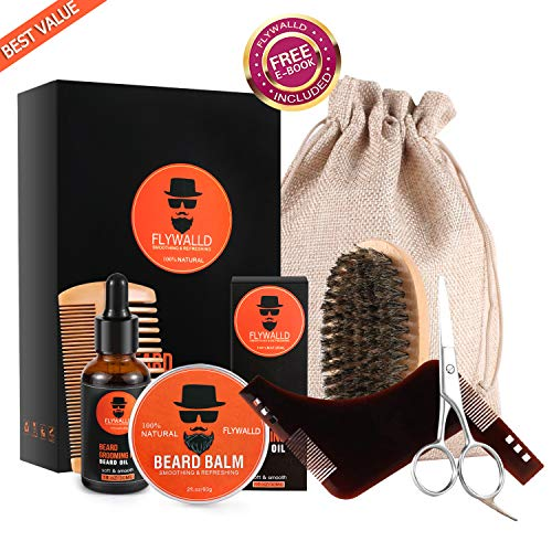 FlyWallD Beard Grooming Kit for Men - Ultimate Beard Care Kit with Unscented Organic Beard Oil and Beard Balm, Beard Brush,Wood Comb,Beard Shaping and Mustache Scissors, Perfect Gift for Men