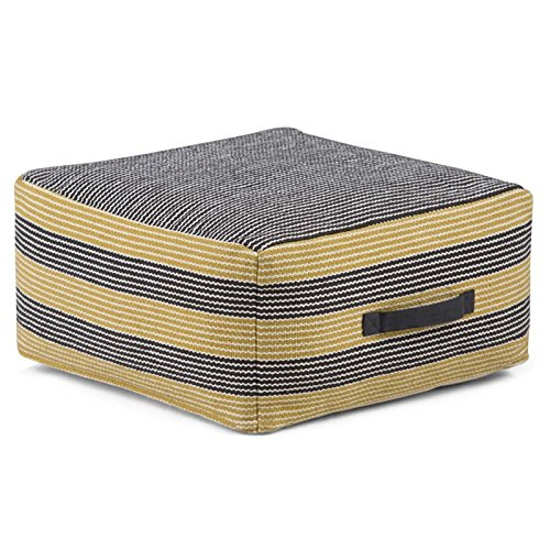 Simpli Home Keller Square Pouf, Patterned Grey and Yellow