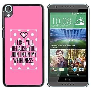 TopCaseStore / la caja del caucho duro de la cubierta de protección de la piel - Pink Love Valentines Couple - HTC Desire 820