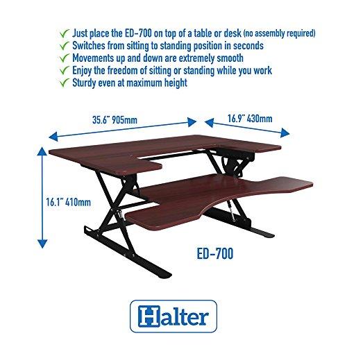 Halter ED-700 Preassembled Height Adjustable Desk Sit/Stand Elevating Tabletop Desktop - Updated Model 2018 - Cherry …
