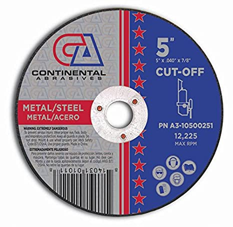 Continental Abrasives A3-10500251 Type 1 Premium Thin Cut-Off Wheels, 5-Inch by 0.040-Inch by 7/8-Inch - - Amazon.com
