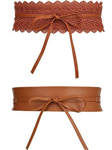 TecUnite 2 Styles Women's Leather Waist Belt Vintage Bowknot Leather Wide Waist Cinch Belt Wrap Around Bow Tie for Dresses (Vintage Wrap Around Skirt)