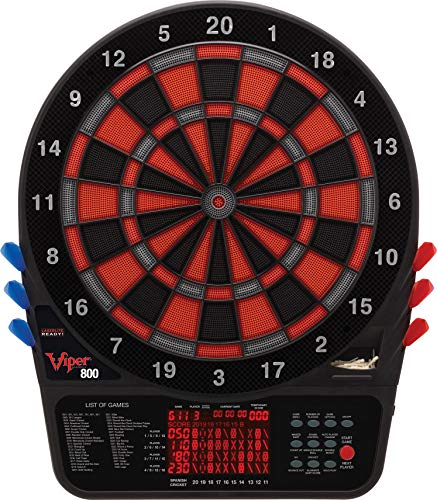 Viper 800 Electronic Dartboard, Extended Scoreboard For Spanish Cricket, Regulation Size for Tournament Play, Locking Segment Holes For Reduced Bounce Outs, Team Multiplayer for 16 Players ()