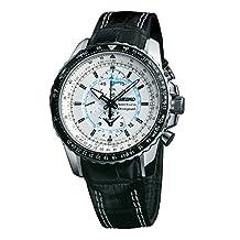 Seiko Men's SNAF01 Black Leather Quartz Watch with White Dial