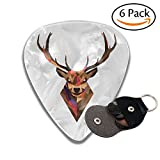 Minimal Deer Leather Pick Holder Keychain - 351 Shape Classic Guitar Picks (6 Pack) For Electric Guitar, Acoustic Guitar, Mandolin, And Bass (0.46mm, 0.71mm, 0.96mm)