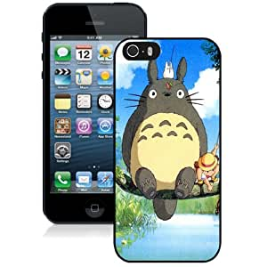 Fashionable And Unique Designed Cover Case For iPhone 5 5S With Ghibli My Neighbor Totoro Anime_Black Phone Case