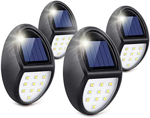 Always on Solar Lights Outdoor Waterproof, Mini Solar Fence Lights for Wireless Lighting in Deck, Step, Porch, Patio, Stair, Garden, Yard, Pathway 4 Pack, 10 LED, 5500K