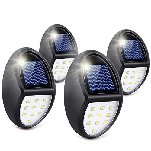 Always on Solar Lights Outdoor Waterproof, Mini Solar Fence Lights for Wireless Lighting in Deck, Step, Porch, Patio, Stair, Garden, Yard, Pathway (10 LED, 600LM, 4 Pack)