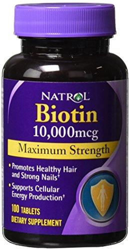 Natrol Biotin Maximum Strength 10,000 mcg (Pack of 5) (100 tablets)
