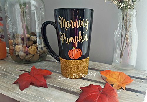 Pumpkin Coffee Mug - Good Morning Pumpkin. A glitter coffee mug, a perfect halloween mug (Pumpkin Coffee Mug)