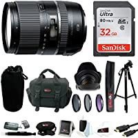 Tamron AFB016N700 16-300 F/3.5-6.3 Di II VC PZD Macro 16-300mm IS Interchangeable Lens for Nikon Cameras with SanDisk 32 GB Deluxe Accessory Kit