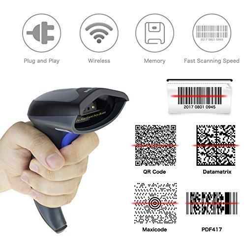 Wireless 2D QR Barcode Scanner, NETUM Handheld USB 1D 2D Bar Code Reader,Supports MaxiCode, Data Matrix, PDF417 Code for MAC, Window PC and tablets NT-W8 Nt 180 Tablets