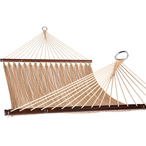 Prime Garden Large 2 Person Soft Polyester jumbo Rope Weave Caribbean Hammock 450 Pound Capacity -Tan
