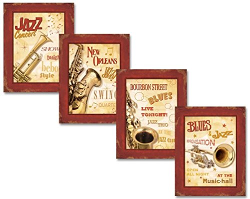 Vintage New Orleans Jazz and Blues Show Signs Four Poster Prints. Red/Cream