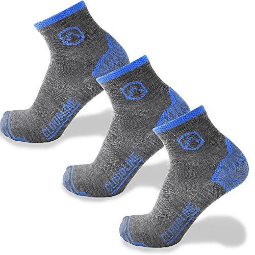 CloudLine Merino Wool Athletic 1/4 Crew Ultra Light Running Socks - 3 PACK - for Men & ()