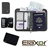 Elaxor™ Cute High Quality Multi-Functional Compact Zippered Passport, cards, cash and Travel Document Organizer Wallet Case (Gray)