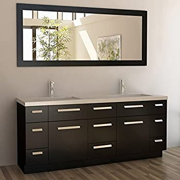 Design Element Moscony Double Sink Vanity Setwith Espresso Finish, 72 Incch