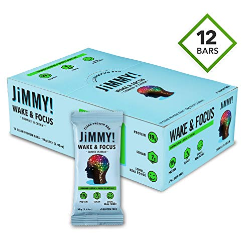 JiMMY! Clean Protein Bars, Natural & Gluten Free, High Protein & Low Sugar with Guarana Caffeiene, Omega 3 & MCT Oils, Cookies 'N Cream (Wake & Focus), 12 Pack