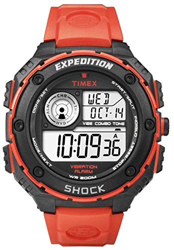 Timex Men's Quartz Watch with LCD Dial Digital Display and Orange Resin Strap T49984