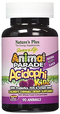 Nature's Plus - Animal Parade Acidophikidz, 90 chewable tablets Berry Flavor, Gluten Free - 90 Chewable Tabs