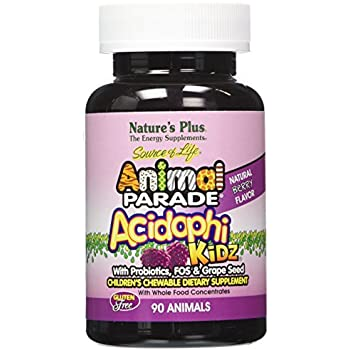 Nature's Plus - Animal Parade Acidophikidz, 90 chewable tablets Berry Flavor, Gluten Free