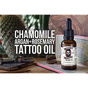 Tattoo Aftercare Oil by Urban Nomads | 100% Natural with Creamy Orange Scent | Restores and Moisturizes Skin & Body Ink | Made w/ Argan Oil, Vitamins & Essential Oils | Handcrafted in Barcelona | 1 oz