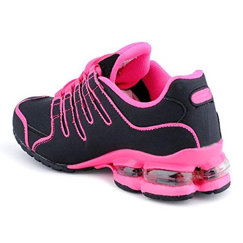 Fusskleidung Herren Damen Sneaker Sportschuhe Lauf Freizeit Neon Runners Fitness Low Unisex Schuhe Schwarz/Fuchsia-W
