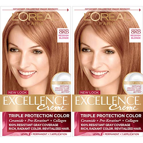 L'Oréal Paris Excellence Créme Permanent Hair Color, 8RB Medium Reddish Blonde, 2 COUNT 100% Gray Coverage Hair Dye