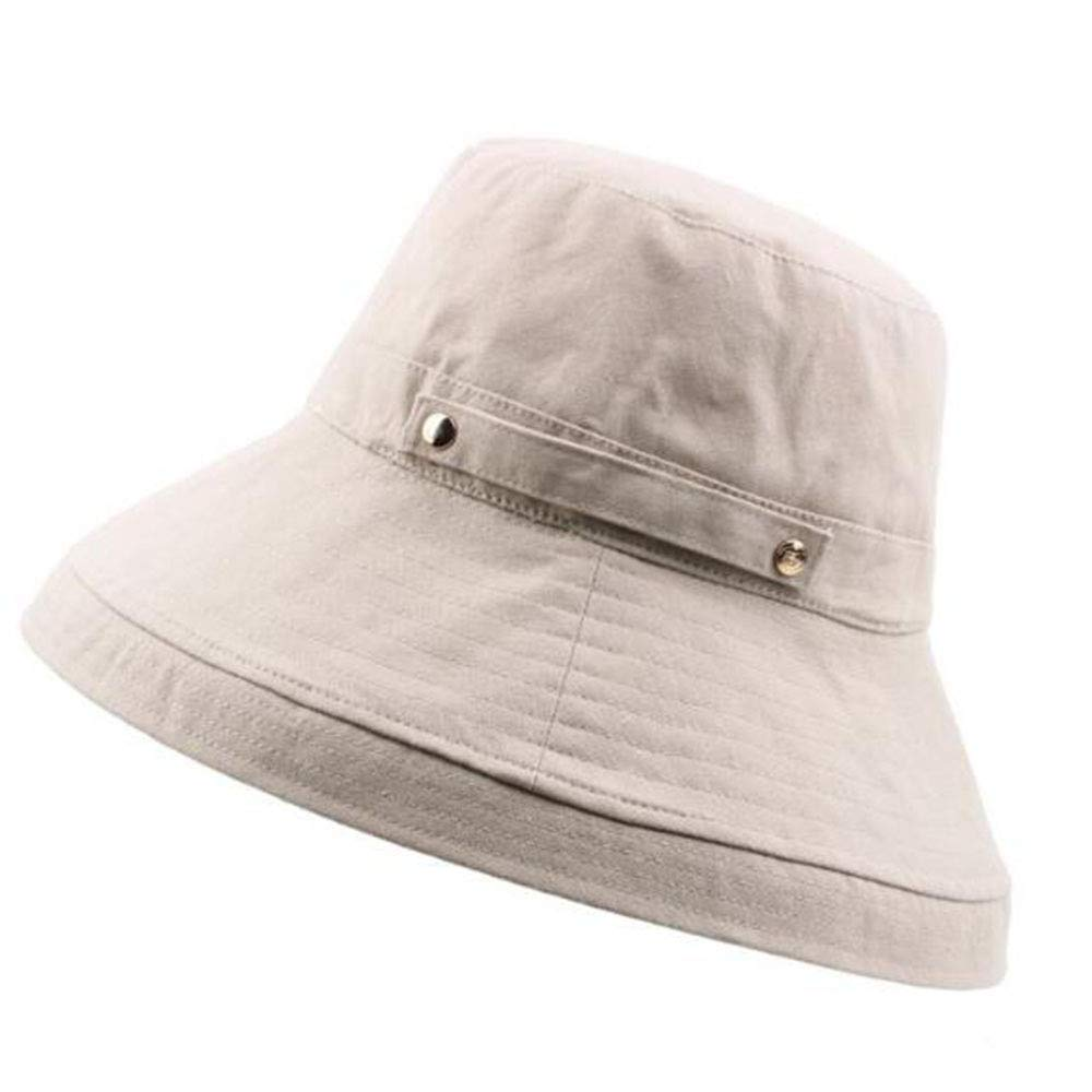 E JJYHN Women's Adjustable hat,Foldable Cotton Hemp Double Buckle Fisherman hat Roll Edge Hood