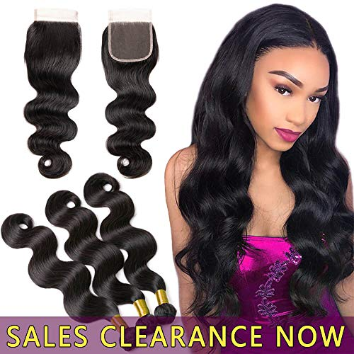9A Human Hair Body Wave 3 Bundles With 4x4 Lace Closure Free Part Best Brazilian Virgin Hair Weave Indian Malaysian Remy Wavy Hair Extensions Cheap Peruvian Natural Black Hair Weft 16 18 20 And 14