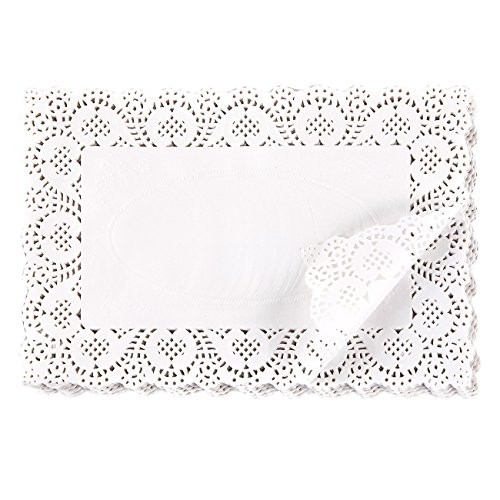 Paper Doily - 200-Pack Rectangular Doilies Paper Lace Placemats for Cakes, Desserts, Baked Treat Display, Ideal for Weddings, Formal Event Decoration, Tableware Decor, White - 7.8 x 11.8 Inches ()