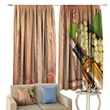 Winery Decor Curtains, Wine Bottle and Bunch of Grapes On Wooden Table Background Romantic Italian Dinner Theme Window Draperies for Living Room Bedroom 2 Panels Set, 72' W x 72' L Green Brown