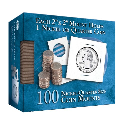 Nickel-Quarter 2x2 Mylar Protective Coin Covers: 100 Count (Cover Coin State Quarter)