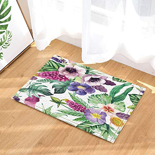 Watercor Flowers Decorative Calla Lily in Tropical Flowers and Monstera Leaf Slip Door Mat Bathroom Mat 4060CM