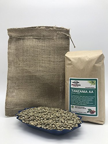5 LBS – TANZANIA AA (includes a FREE BURLAP BAG) Specialty-Grade, CURRENT-CROP Green Unroasted Coffee Beans – Grown at High Altitudes of 1,400-2,000 Meters – Plant Varietals Bourbon & Typica