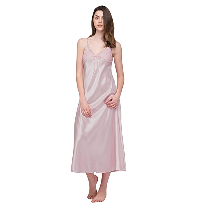b27de74535 SexyTown Women s Long Trimmed Satin Nightgown V-Neck Full Slip Lingerie  Sleepwear (X-