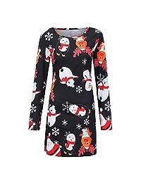FarJing Christmas Dress, Fashion Women Vintage Cartoon Snowman Print Mini Dress