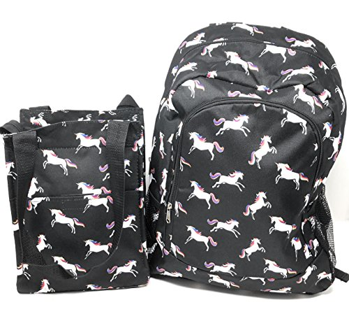 Kids Full Size Backpack with Side Mesh Pockets and Insulated Lunch Box Bag Carrier (Unicorn) ()