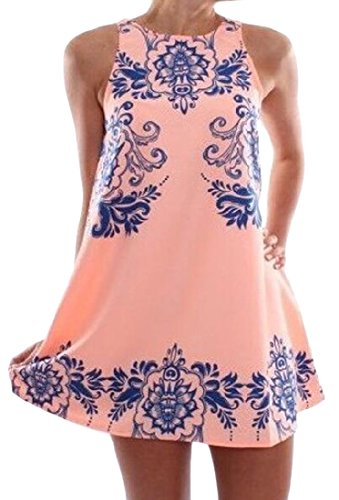 Vivi Women Fashion Floral Print Crewneck Chiffon Sundress Pink XS (Pink Sundress Dress)