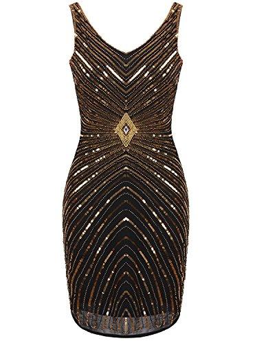 Vijiv Women's 1920s V-Neck Art Deco Sequin Beaded Tank Cocktail Flapper Dress,Glam Gold,Medium -