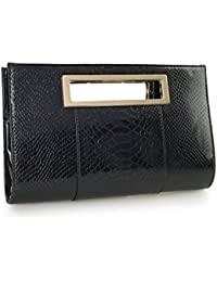 Classic Crocodile Pattern Faux Patent Leather Metal Grip Cut it out Clutch with Shoulder Strap Womens Handbag