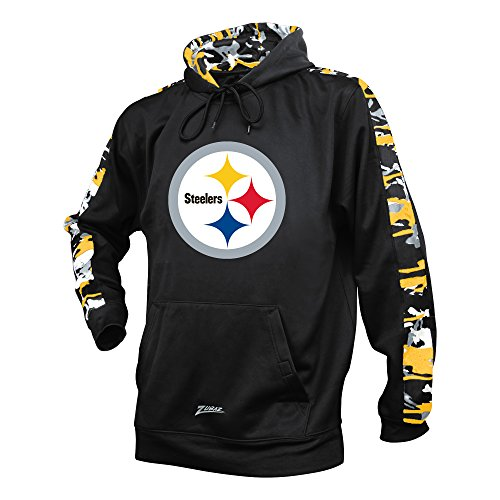 NFL Pittsburgh Steelers Men's Zubaz Camo Print Accent Team Logo Synthetic Hoodie, Large, Black