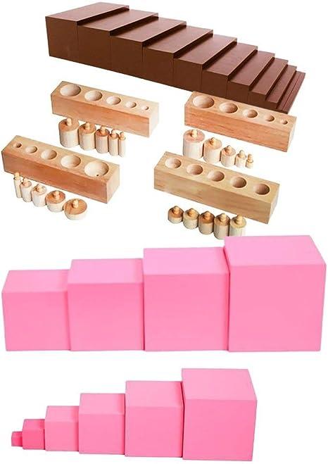 Juguete Temprano Montessori Family Set Escalera marrón + Torre rosa + Bloques de cilindros for niños Juguetes sensoriales for niños: Amazon.es: Bebé