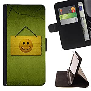 DEVIL CASE - FOR HTC One M9 - Hapy Smiley Area - Style PU Leather Case Wallet Flip Stand Flap Closure Cover