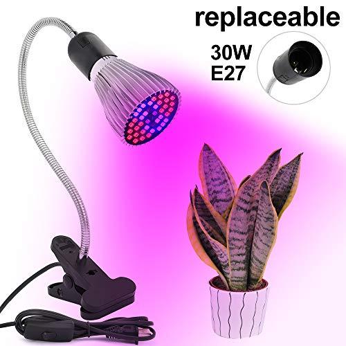 Derlights Grow Lamp with Replaceable 30W E26 Grow Light Bulb, Desk Clip Plant Light, 360° Goosenecks Grow Light for Indoor Office Home Plants Garden Greenhouse ()
