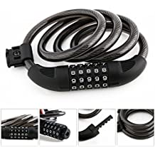 Bike Lock, Cable Locks 4 Feet High Security 5 Digit Resettable Combination Coiling Bicycle Lock Best for Bicycle Outdoors, 4-Feet x 1/2 Inch