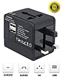 Travel Adapter, Worldwide All in One Travel Socket Universal Plug Converter with Dual USB Charging Ports AC Power Plug Wall Charger for USA EU UK AUS Cell Phones, Laptop