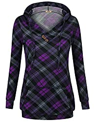 Timeson Sweatshirts For Women Womens Casual Comfy Cozy Hoodie Button Long Sleeve V Neck Pullovers Hoodies Violet Small